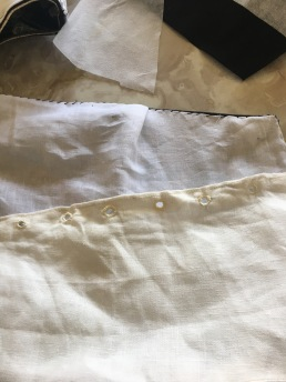 Note that I used eyelets for the back of my waistcoat. But this is before I found out that it wasn't done on all vests and were usually done later to acommodate expanding waistlines.