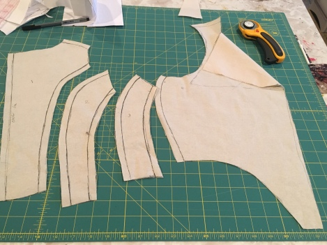 Using the draping method I got a pattern off of those pieces on the dummy.